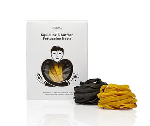 Melima Squid Ink And Saffron Fettuccine Nests - Artisan Greek Egg Pasta-Agora Products