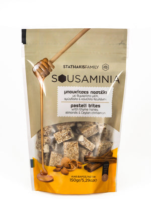 SOUSAMINIA Pasteli Sesami Bites with Greek Thyme Honey, Almonds and Ceylon Cinnamon