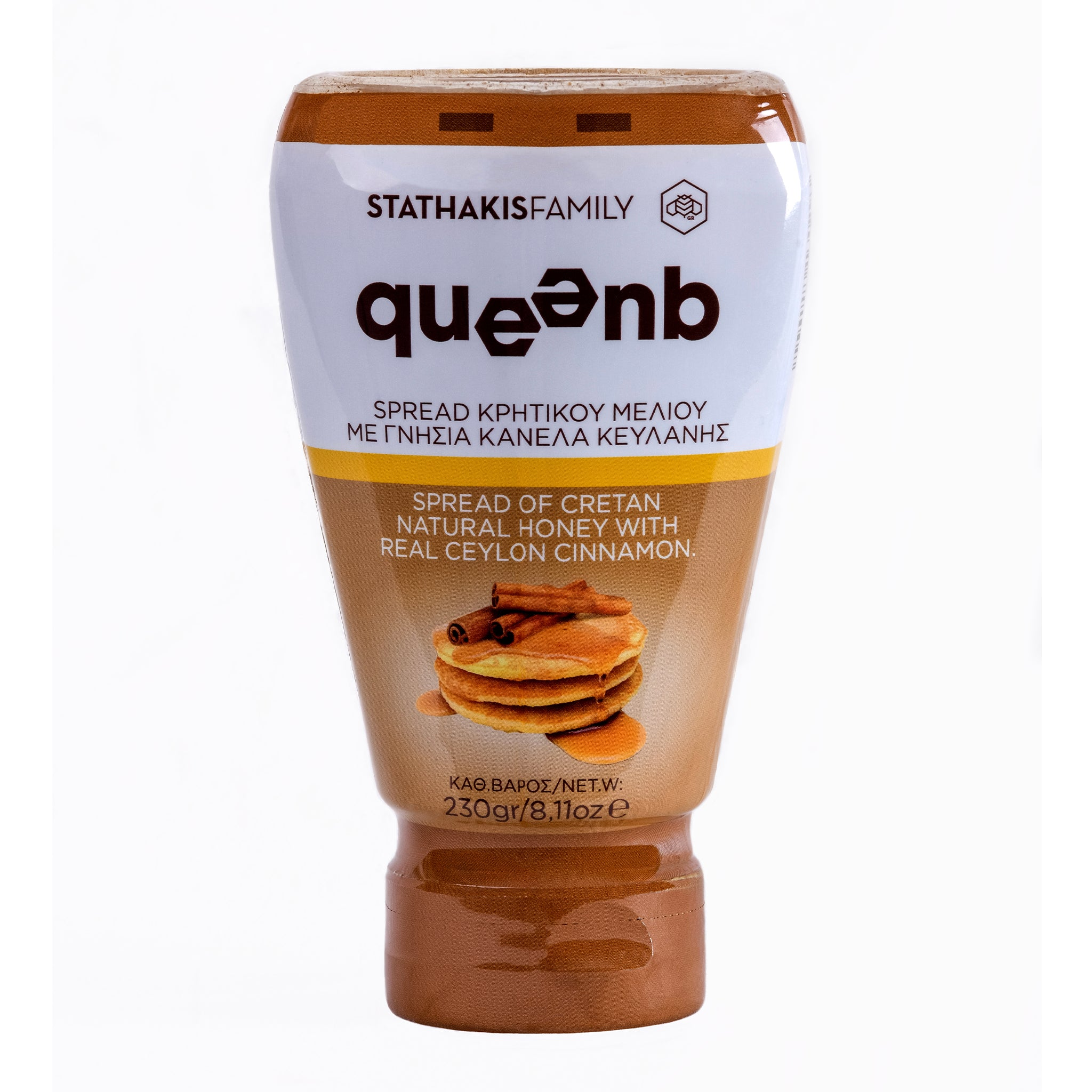 QUEENB Spread of Greek Cretan Natural Honey with Real Ceylon Cinnamon, 230gr