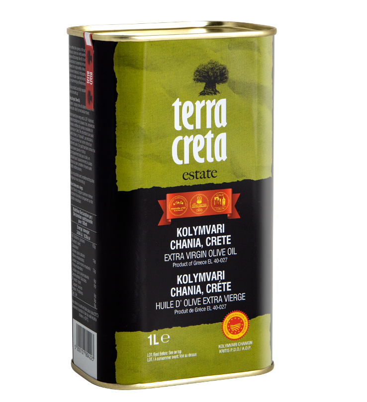 Terra Creta Estate Greek Extra Virgin Olive Oil PDO Kolymvari 1L Tin