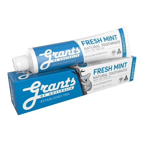 Grants - Natural Toothpaste - Fresh Mint WITH FLUORIDE (110g)
