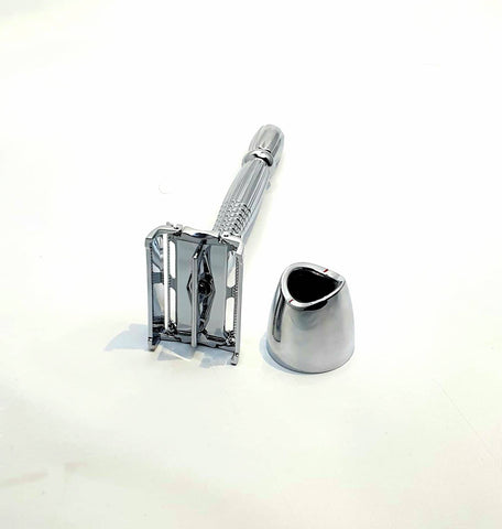 Bare & Co. - Long Handle Butterfly Safety Razor - Silver (with Stand)