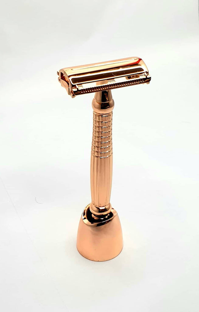 Bare & Co. - Long Handle Butterfly Safety Razor - Rose Gold (with Stand)
