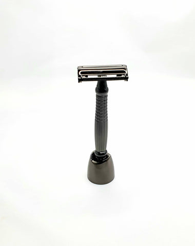 Bare & Co. - Long Handle Butterfly Safety Razor - Gunmetal (with Stand)