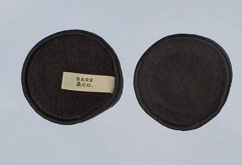 Bare & Co. - Hemp Reusable Make Up Face Pads - Black (6 Pack)