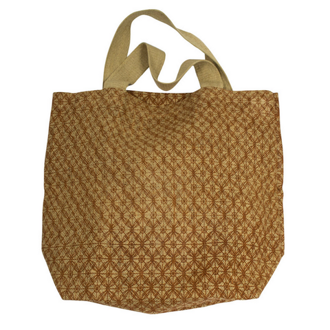 Apple Green Duck - Jute Grocer Bag - Bronze Lattice