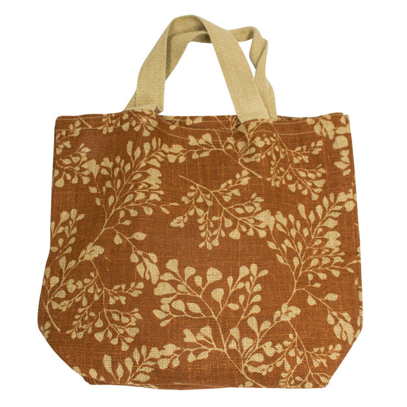 Apple Green Duck - Jute Grocer Bag - Bronze Fern