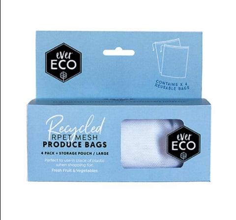 Ever Eco - Extra Large 4 Pack Reusable produce Bags PLUS Bonus Pouch