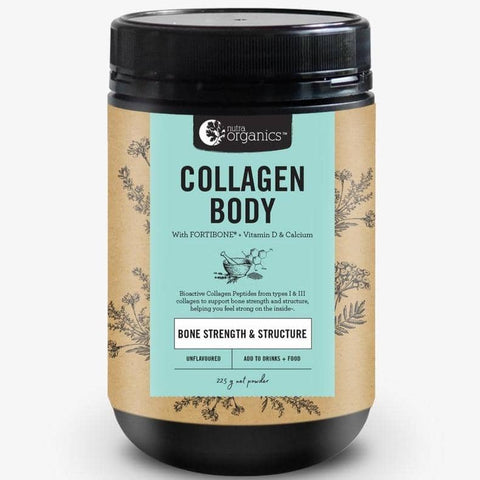 Nutra Organics - Collagen Body with Fortibone, Vitamin D and Calcium (BONE STRENGTH AND STRUCTURE) - Unflavoured (225g)