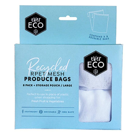 Ever Eco - Large 8 Pack Reusable produce Bags PLUS Bonus Pouch