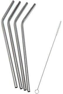 Bare & Co. - Stainless Steel Straws - Bent (4 Pack with Bonus Cleaner)