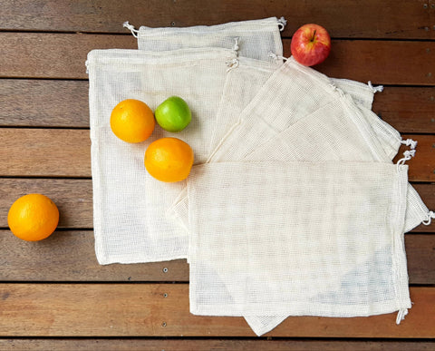 Bare & Co. - Reusable Organic Cotton Net Produce Bags (6 Pack)