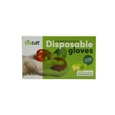 Biotuff Compostable & Biodegradable Disposable Kitchen Gloves - Large (200 pack)
