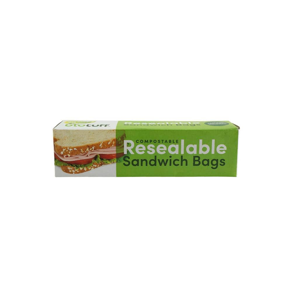 Biotuff - Resealable Biodegradable Ziplock Sandwich Bags (30 Pack)