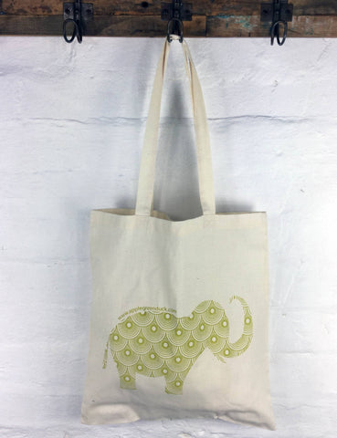 Apple Green Duck - Calico Tote -  Elephant