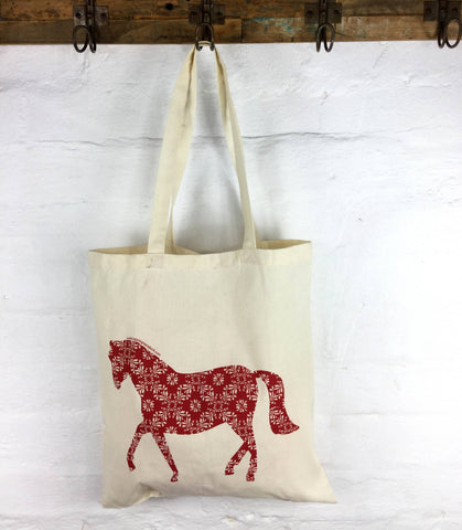 Apple Green Duck - Calico Tote -  Horse