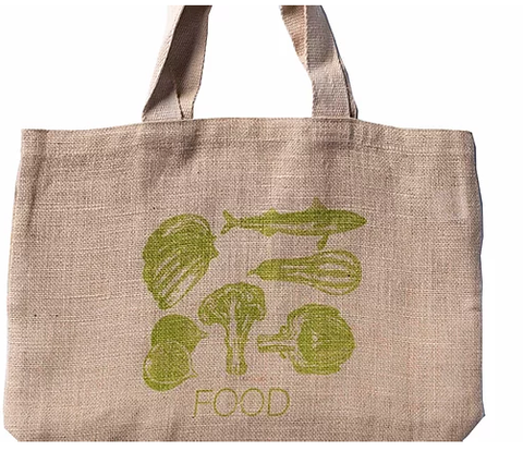 Apple Green Duck Jute Grocer Bag - Green Food