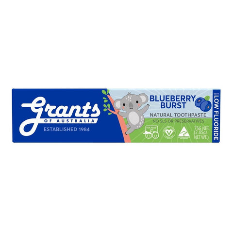 Grants - Kids Natural Toothpaste - Blueberry Burst WITH LOW FLUORIDE (75g)