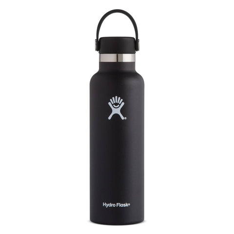 Hydro Flask - Double Insulated Standard Mouth Bottle with Flex Cap - Black (621ml)
