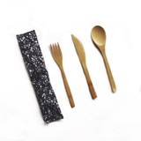 Bare & Co. - Reusable Bamboo Cutlery Set with Bonus Travel Pouch
