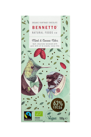 Bennetto Natural Food Co. - Organic and Fairtrade Dark Chocolate - Mint and Cocoa Nibs (100g)