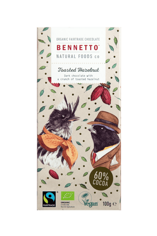 Bennetto Natural Food Co. - Organic and Fairtrade Dark Chocolate - Toasted Hazelnut (100g)