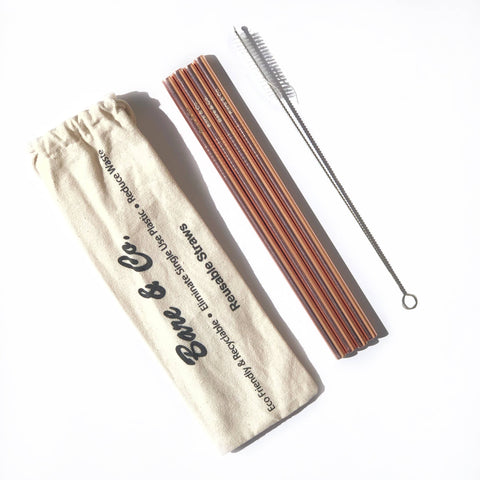 Bare & Co. - Reusable Rose Gold Straws - Straight (4 Pack with Bonus Cleaner)