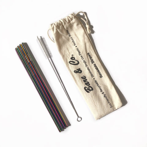 Bare & Co. - Reusable Rainbow Straws - Straight (4 Pack with Bonus Cleaner)
