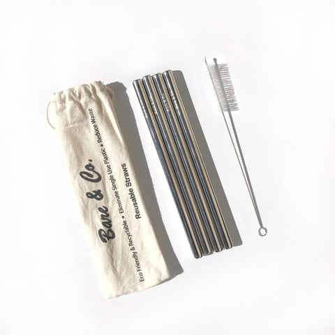 Bare & Co. - Stainless Steel Straws - Smoothie Size (4 Pack with Bonus Cleaner)