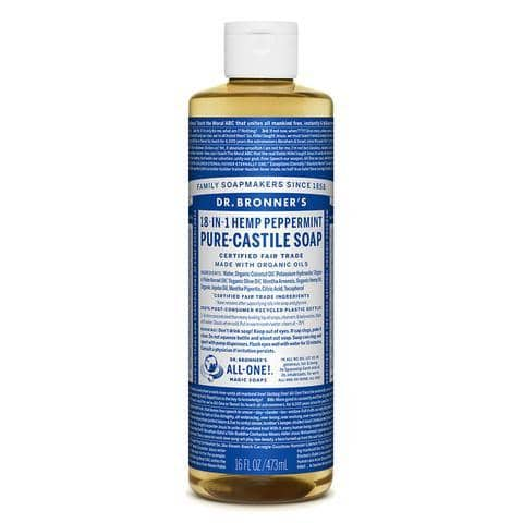 Dr Bronners 18 in 1 Pure Castile - Peppermint Liquid Soap 473ml