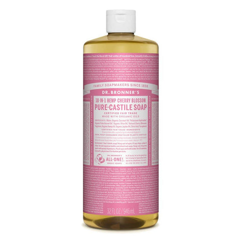 Dr Bronners - 18 in 1 Pure Castile Liquid Soap - Cherry Blossom (946ml)