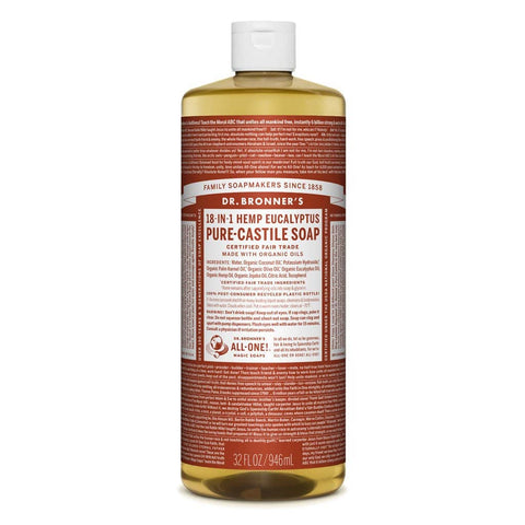 Dr Bronners - 18 in 1 Pure Castile  Liquid Soap - Eucalyptus (946ml)