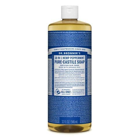 Dr Bronners - 18 in 1 Pure Castile Liquid Soap - Peppermint (946ml)