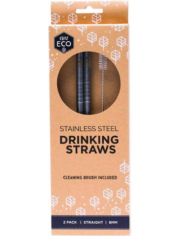 Ever Eco - Stainless Steel Straws - Straight (2 pack with Cleaning Brush)