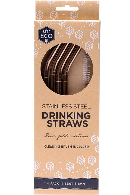 Ever Eco - Rose Gold Bent Stainless Steel Straws 4 pack with Cleaning Brush