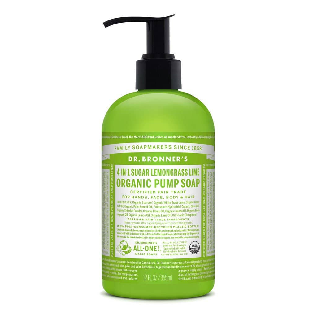 Dr Bronners - 4 in 1 Pump Soap - Lemongrass Lime (355ml)