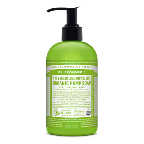 Dr Bronners 4 in 1 Organic Baby - Lemongrass Lime Liquid Pump Soap 355ml