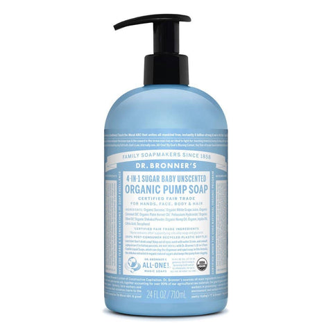 Dr Bronners 4 in 1 Organic Baby - Unscented Liquid Pump Soap 710ml