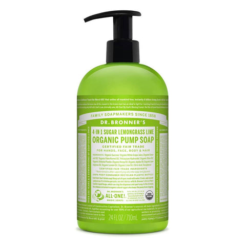 Dr Bronners 4 in 1 Organic Baby - Lemongrass Lime Liquid Pump Soap 710ml