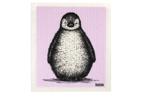 Retro Kitchen - Biodegradable Dish Cloth - Sketch Baby Penguin