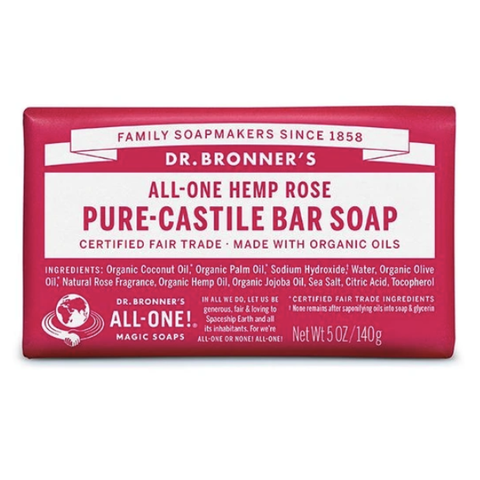 Dr Bronners - Castile Soap Bar - Rose (140g)