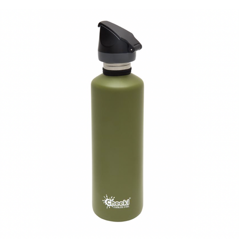 Cheeki - Single Wall Active Bottle with Tri-Tech Sports Lid - Khaki (750ml)