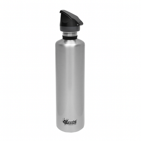 Cheeki - Single Wall Active Bottle with Tri-Tech Sports Lid - Silver (1L)