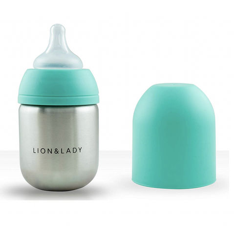 Lion & Lady - Stainless Steel Feeding Bottle - Mint (210ml)
