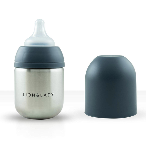 Lion & Lady - Stainless Steel Feeding Bottle - Navy (210ml)