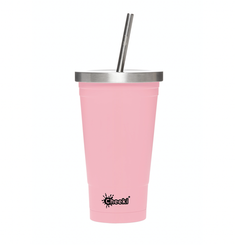 Cheeki - Insulated Stainless Steel Tumbler with Straw - Pink (500ml)