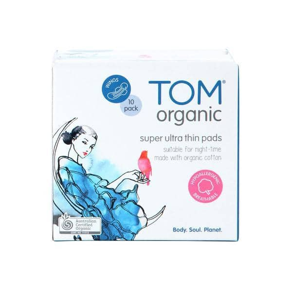 TOM Organic - Super Night Time Ultra Thin Pads 10 Pack