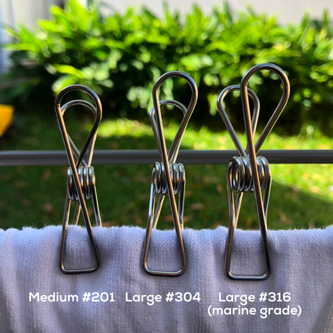 Bare & Co. - Stainless Steel Extra Strong Large Pegs - Marine Grade (30 Pack)