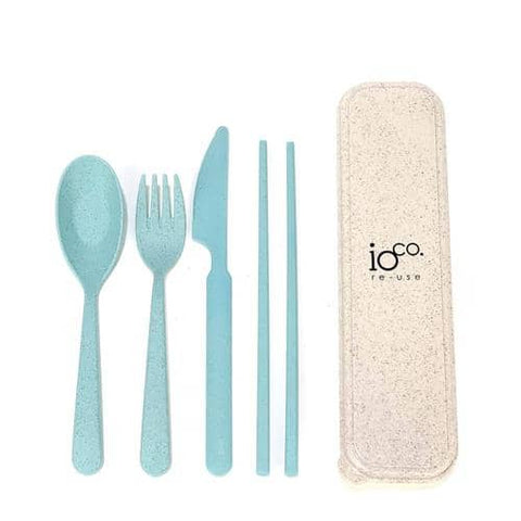 ioCO. - Wheat Straw Fibre Cutlery Set - Green/Blue