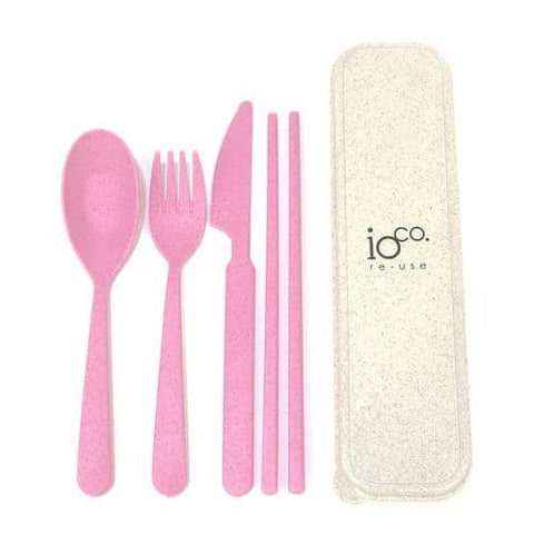 ioCO. - Wheat Straw Fibre Cutlery Set - Pink